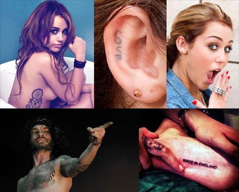 tatouage Cara Delevingne, Miley Cyrus et Frah Shaka Ponk
